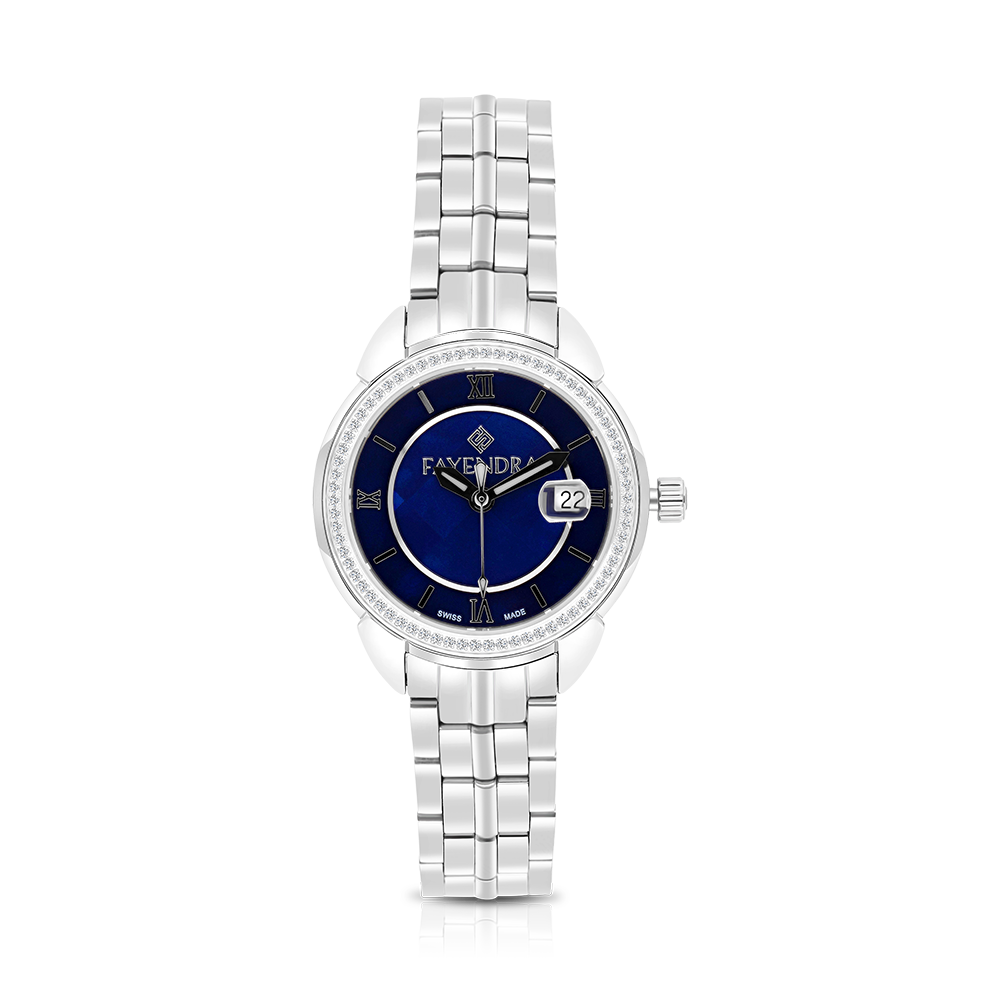 Stainless Steel 316L Watch Rhodium Plated, Blue Dial ,For Women