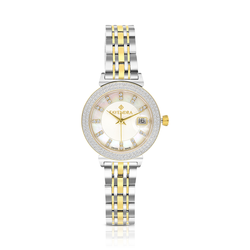 Stainless Steel 316L Watch,Rhodium,Gold Plated,Natural Diamonds,MOP Dial