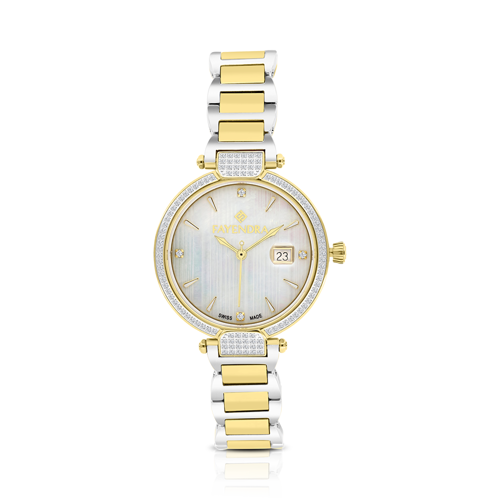 Stainless Steel 316L Watch,Rhodium,Gold Plated,Natural Diamonds,MOP Dial,For Women