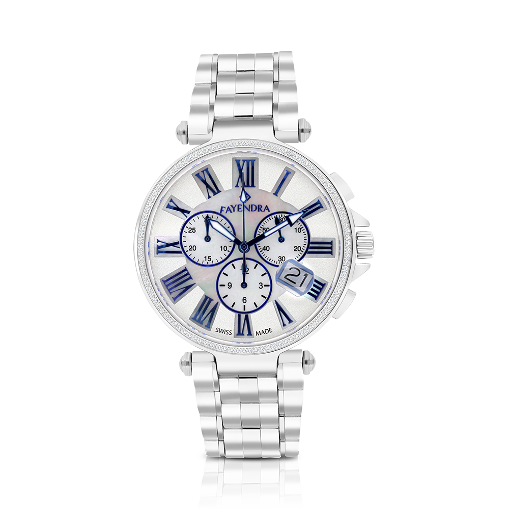 Stainless Steel 316L Watch Rhodium Plated,MOP,Blue Dial,For Men