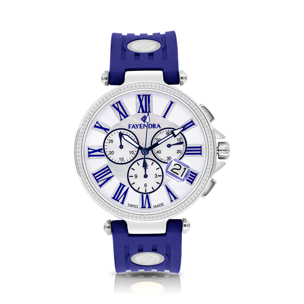 Stainless Steel 316L Watch Rhodium Plated,Blue Rubber,MOP Dial,For Men