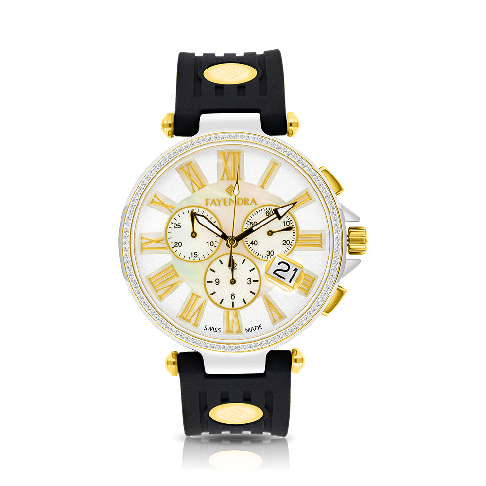 Stainless Steel 316L Watch Rhodium,Gold Plated,Black Rubber,MOP Dial,For Men