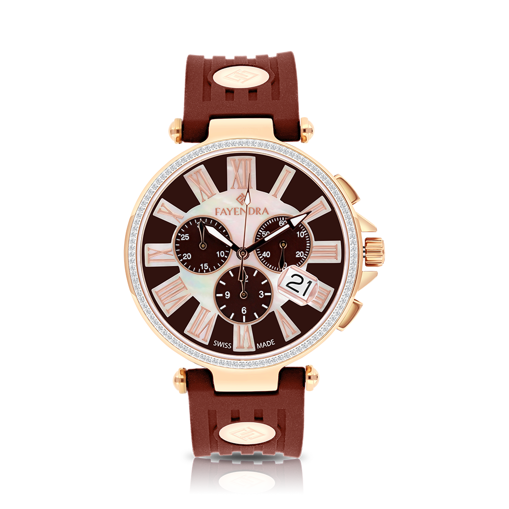 Stainless Steel 316L Watch Rose Gold Plated, Brown Rubber, MOP Dial ,For Men