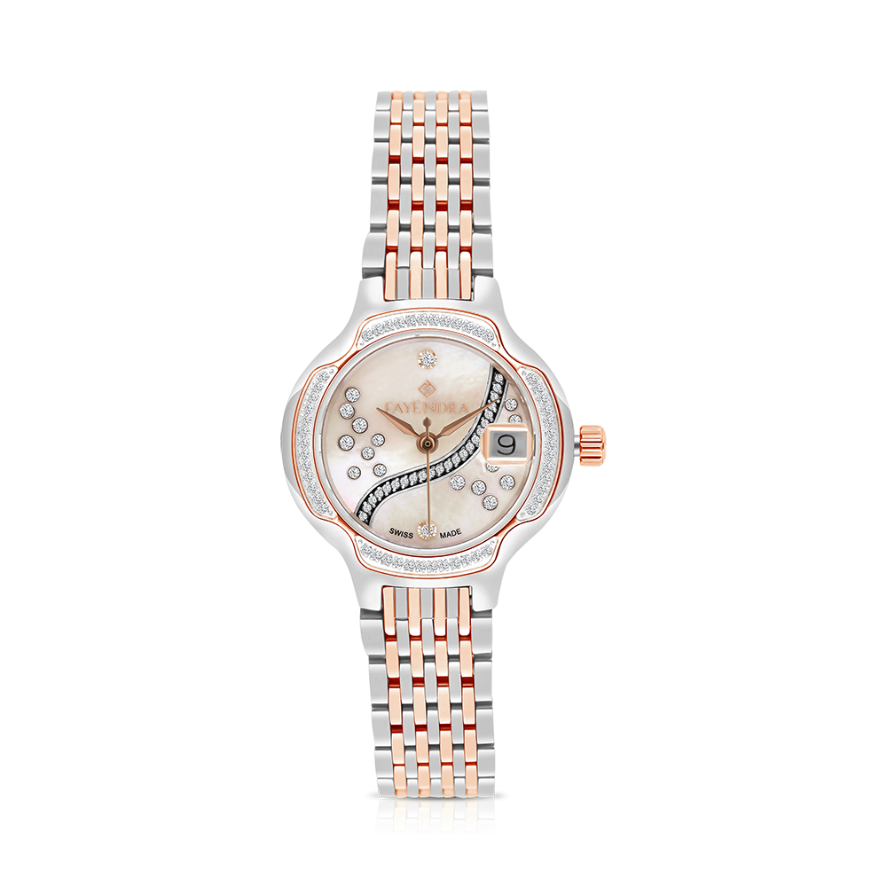 Stainless Steel 316L Watch Rhodium Rose Plated MOP Dial For Women