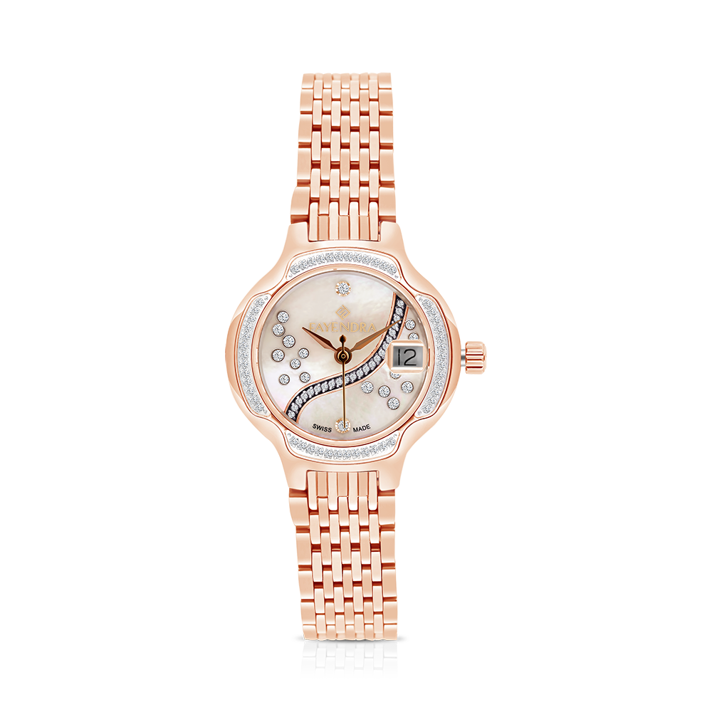 Stainless Steel 316L Watch Rose Gold Plated MOP Dial For Women