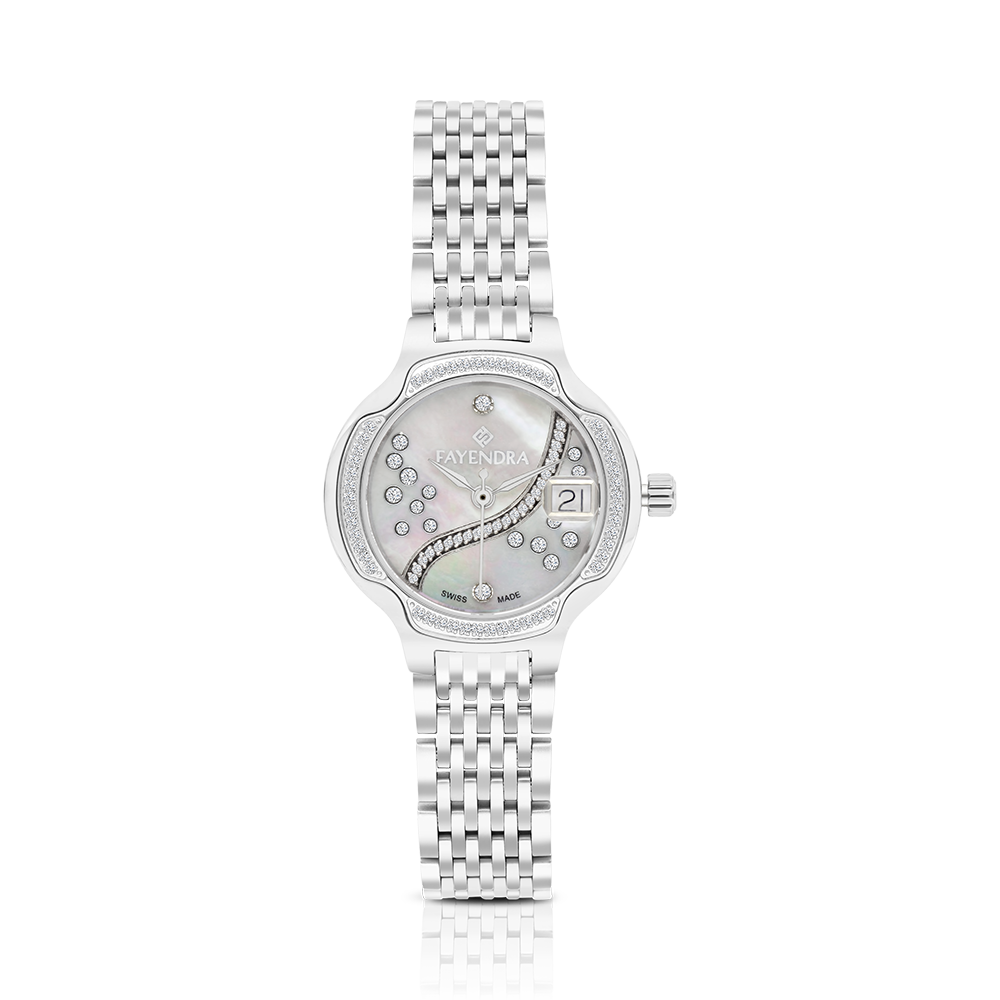 Stainless Steel 316L Watch,Rhodium Plated,Natural Diamonds,MOP Dial,For Women