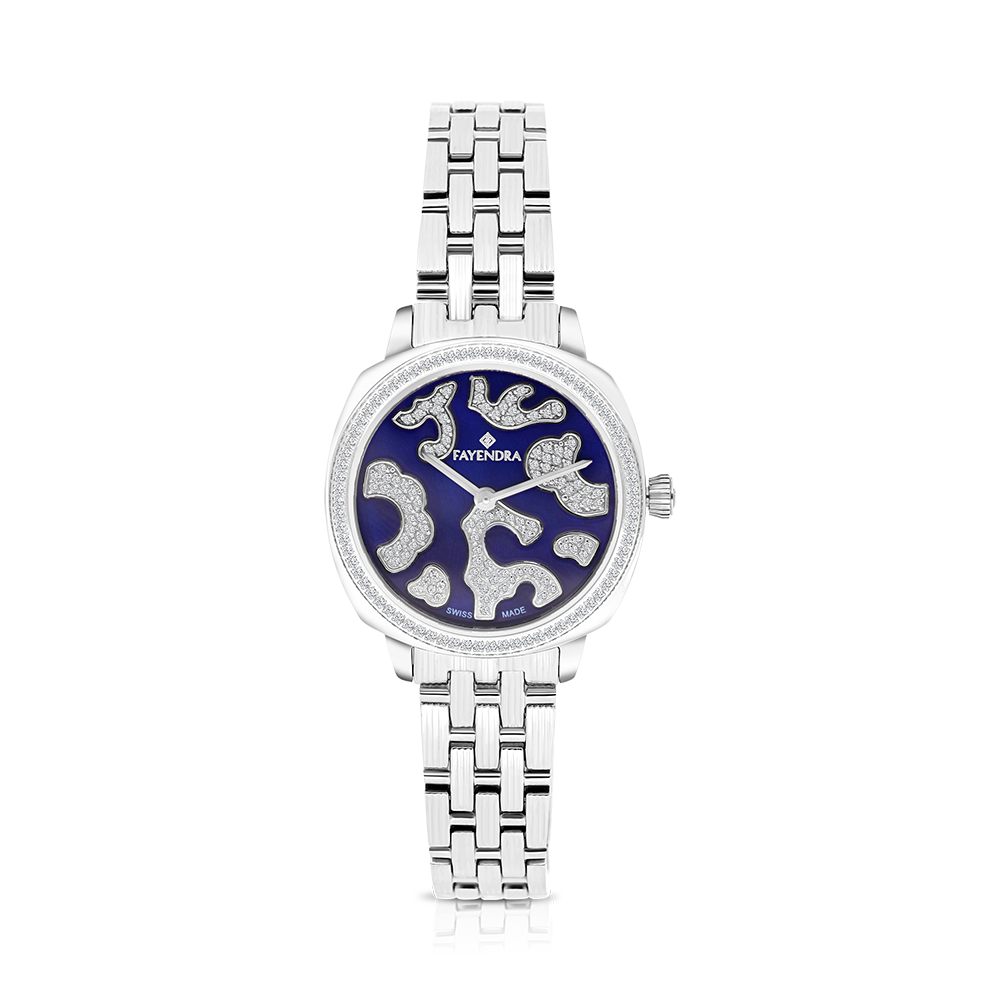 Stainless Steel 316L Watch Rhodium Plated Blue Dial