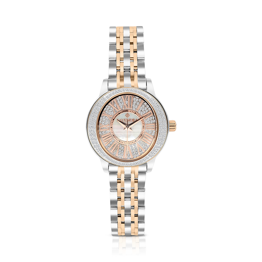 Stainless Steel 316L Watch Rhodium And Rose Plated, MOP Dial