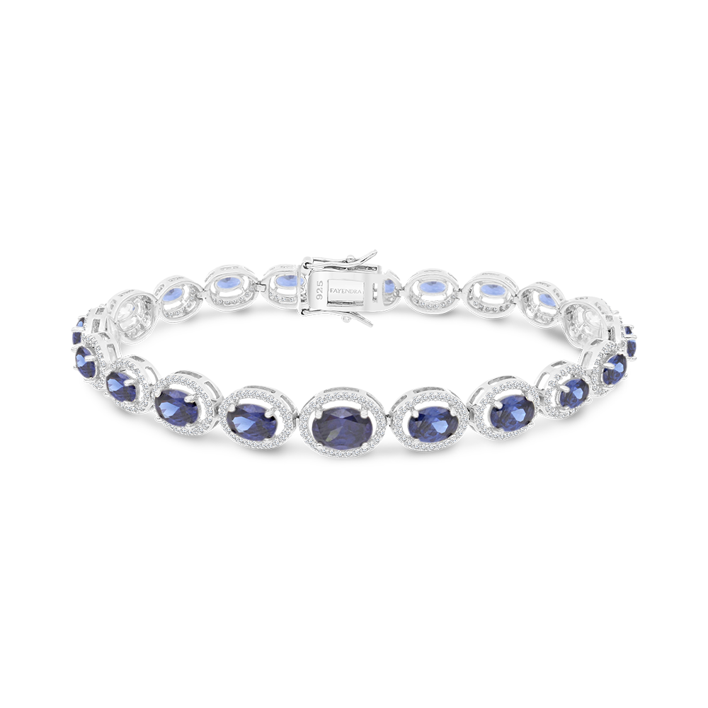 Sterling Silver 925 Bracelet Rhodium Plated Embedded With Tanzanite