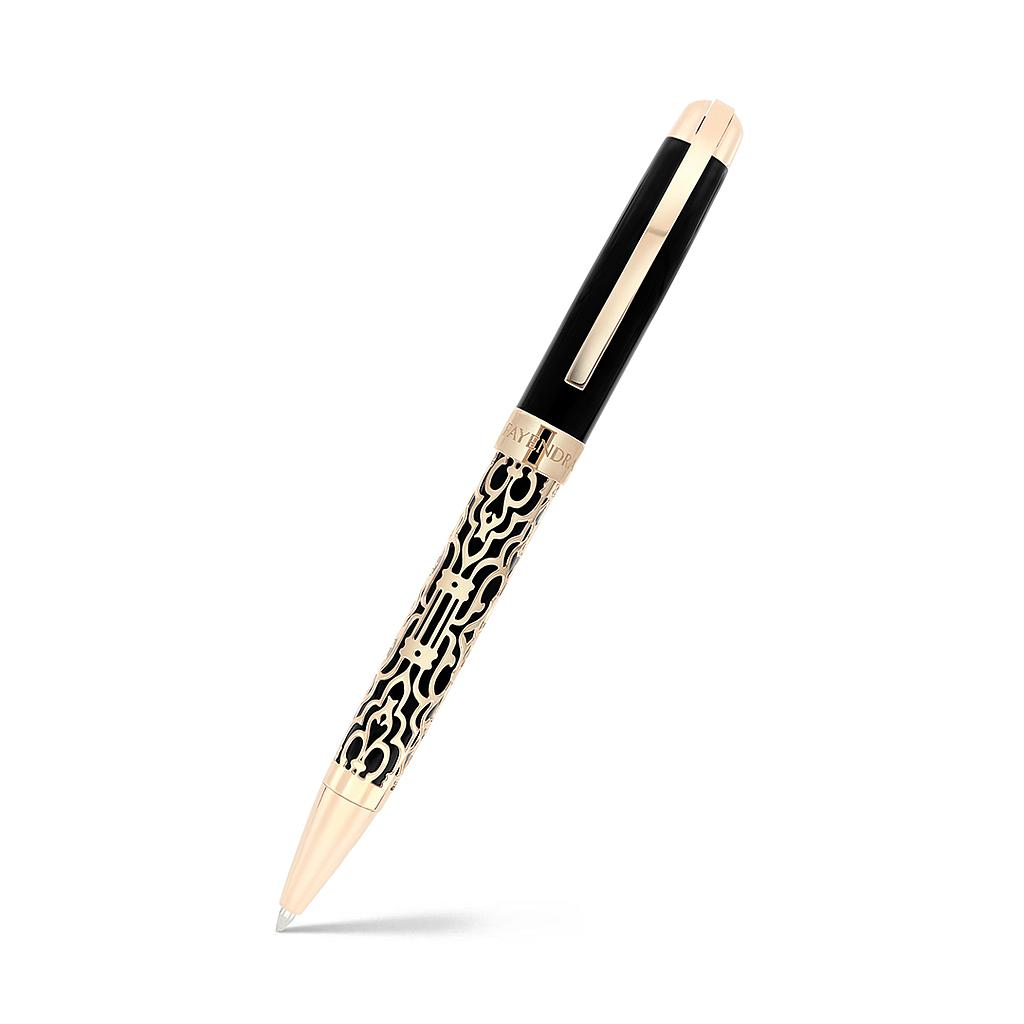 Fayendra Pen Black And Rose plated  black resin