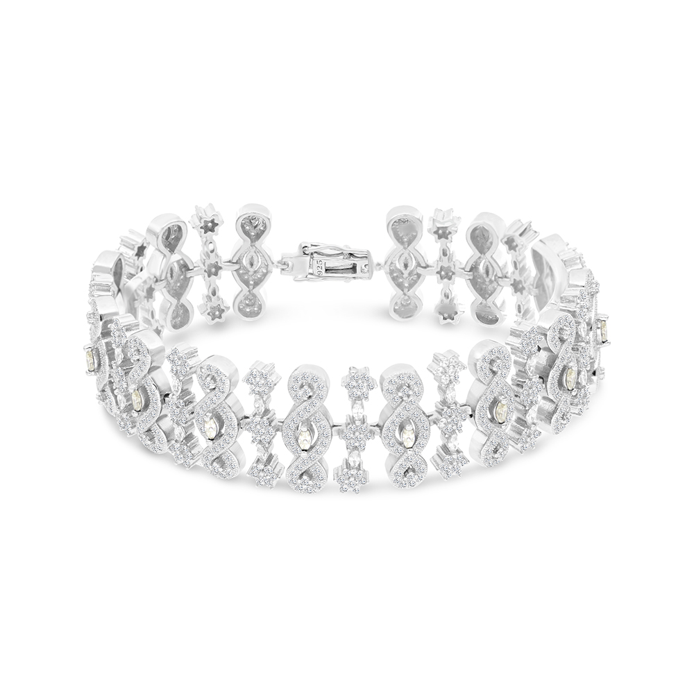 Sterling Silver 925 Bracelet Rhodium Plated Embedded With Yellow Zircon And White CZ