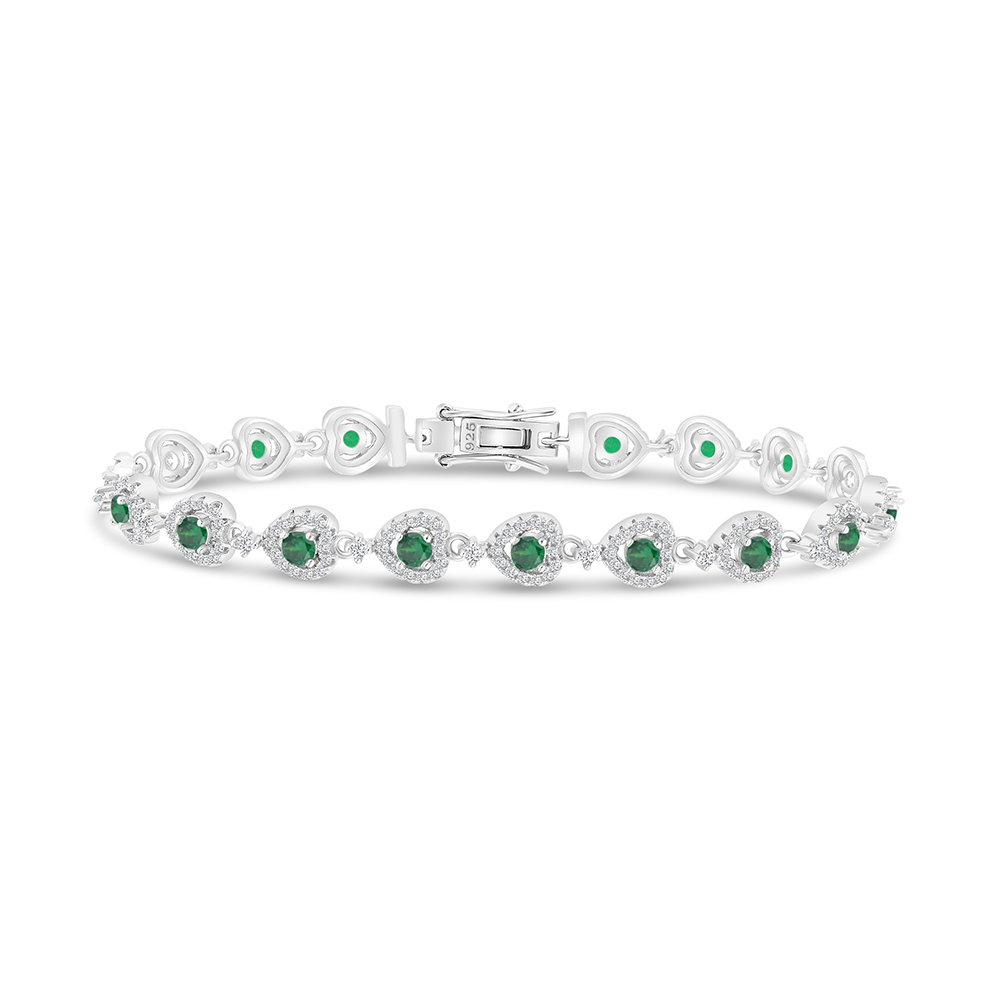 Sterling Silver 925 Bracelet Rhodium Plated Embedded With Emerald