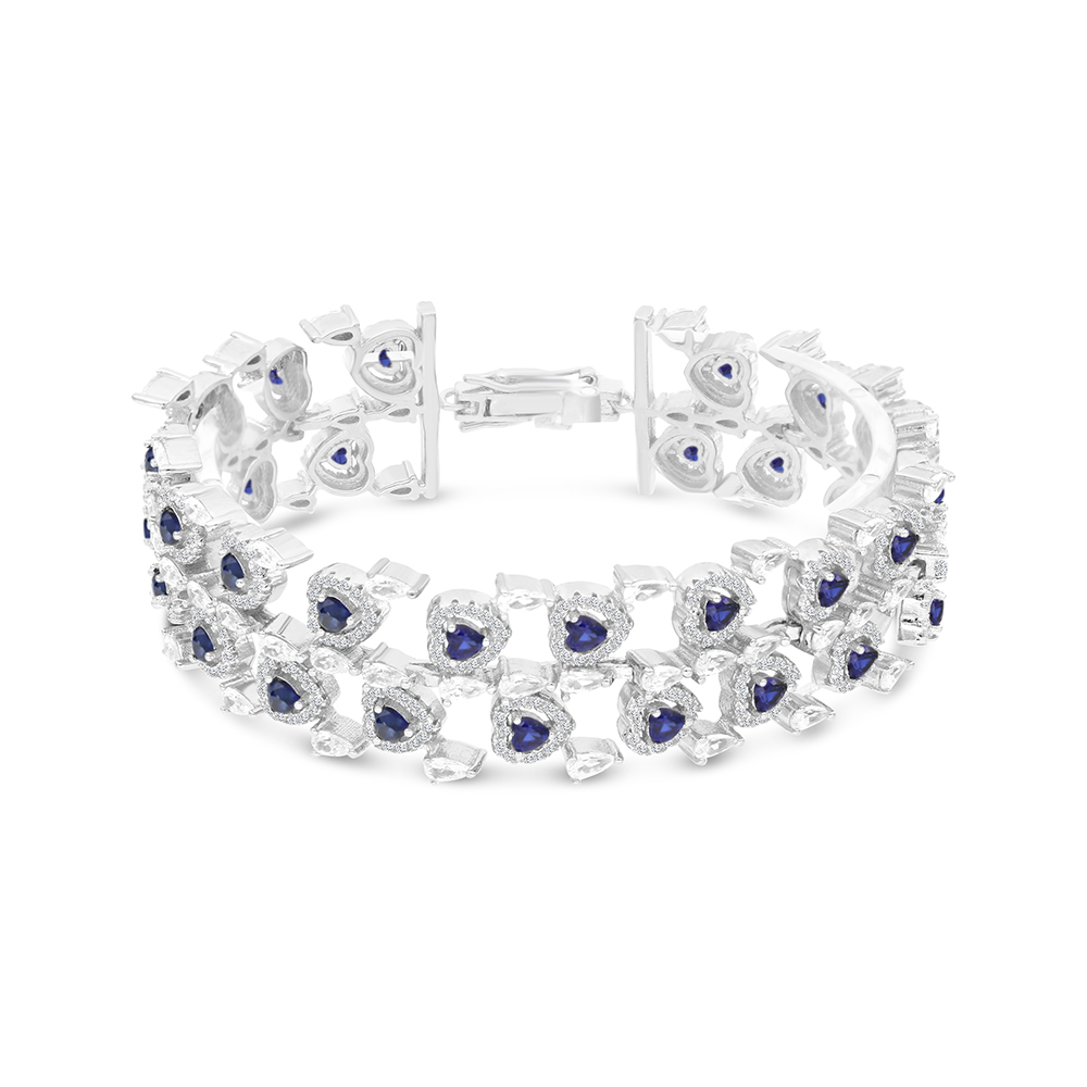 Sterling Silver 925 Bracelet Rhodium Plated Embedded With Sapphire Corundum  And White CZ
