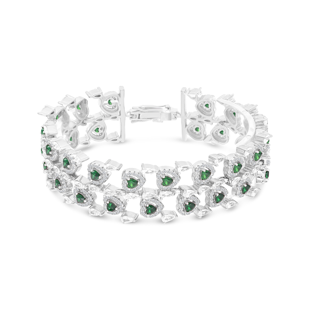 Sterling Silver 925 Bracelet Rhodium Plated Embedded With Emerald And White CZ