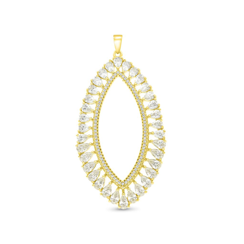 Sterling Silver 925  Pendant  Gold Plated With Yellow Zircon And White CZ