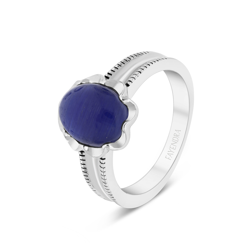 Sterling Silver 925 Ring Rhodium Plated Embedded With Blue Tiger Eye For Men