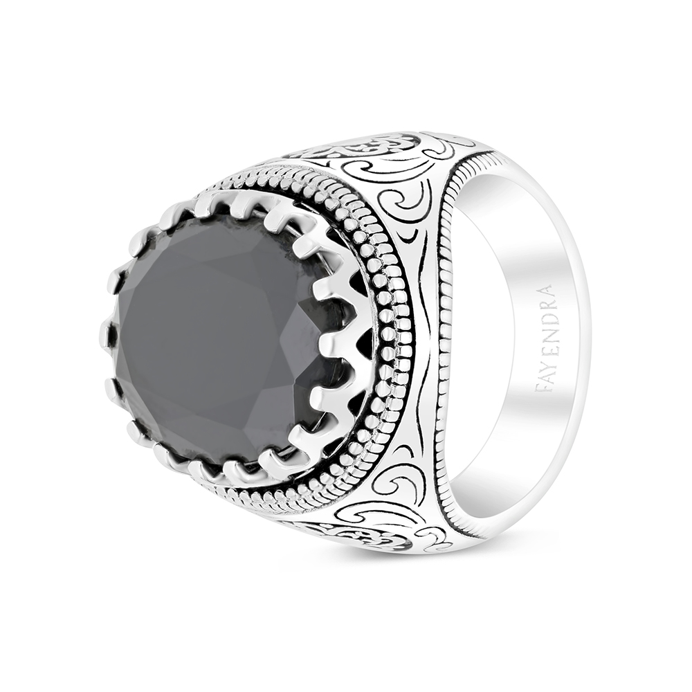 Sterling Silver 925 Ring Rhodium Plated Embedded With Black CZ For Men