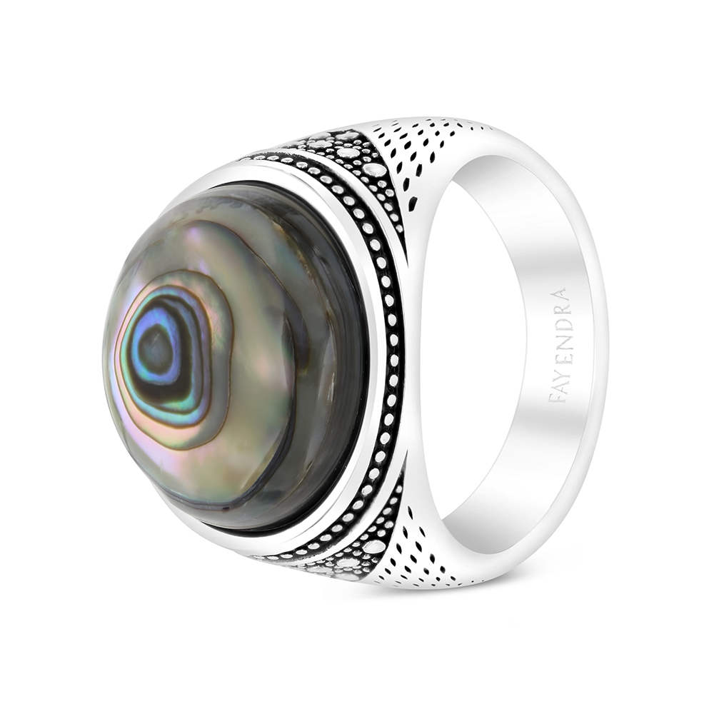 Sterling Silver 925 Ring Rhodium Plated Embedded With Blue shell For Men