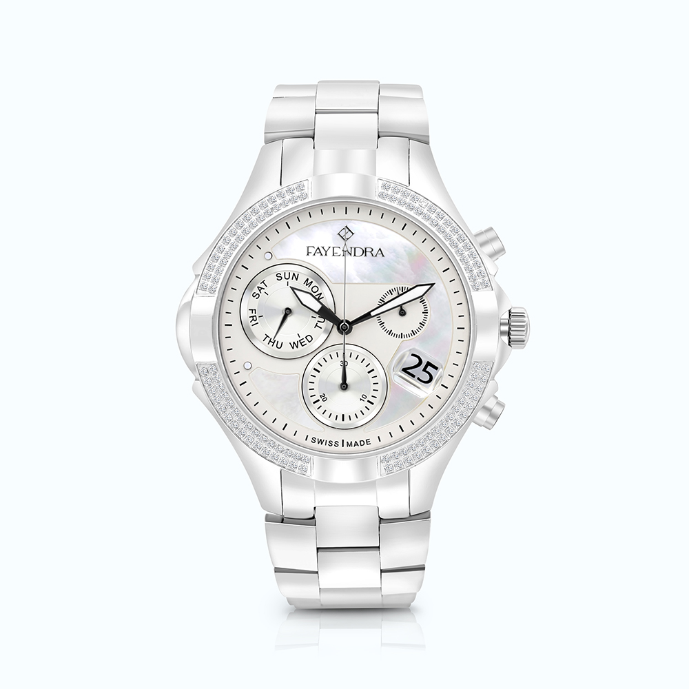 Stainless Steel 316L Watch Rhodium Plated MOP Dial For Men