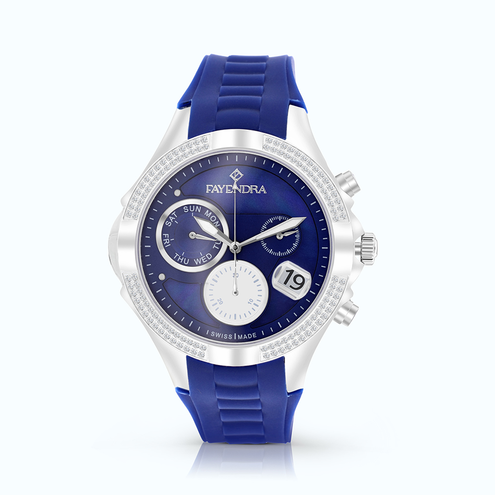 Stainless Steel Watch Rhodium Plated Blue Dial