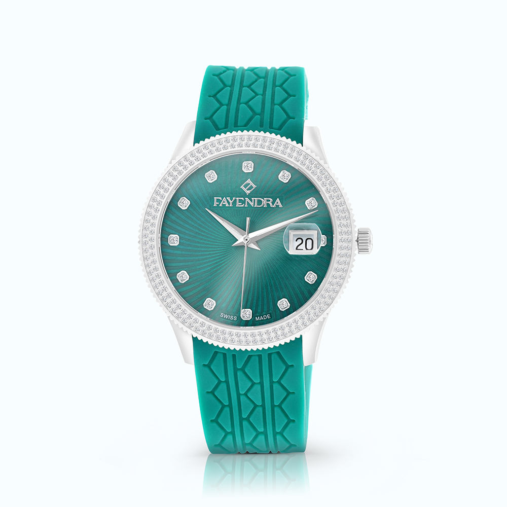 Stainless Steel Watch Rhodium Plated, Green Dial