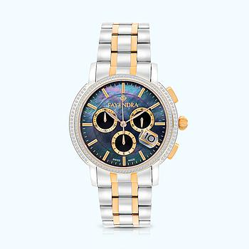 Stainless Steel 316L Watch Rhodium And Rose Plated BLACK Dial