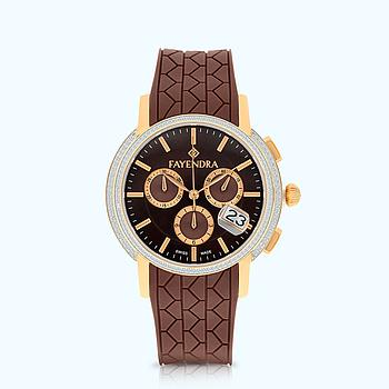 Stainless Steel Watch Rhodium And Rose Plated BROWN Dial