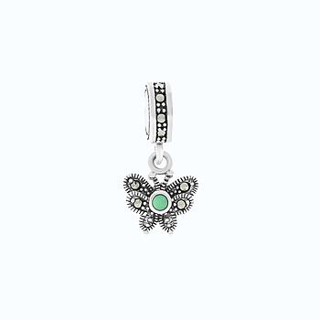 Sterling Silver 925 Charm Natural Green Agate Marcasite Stones
