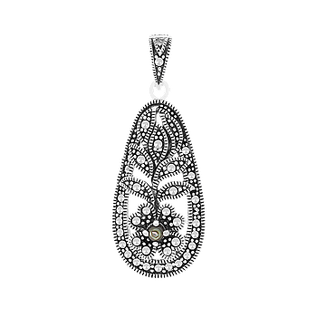 Sterling Silver 925 Pendant Natural Blue Shell Marcasite Stones