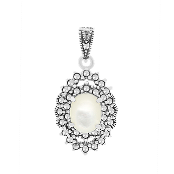 Sterling Silver 925 Pendant Natural White Shell Marcasite Stones