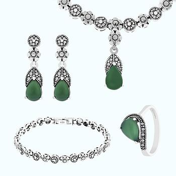 Sterling Silver 925 Set Natural Green Agate Marcasite Stones
