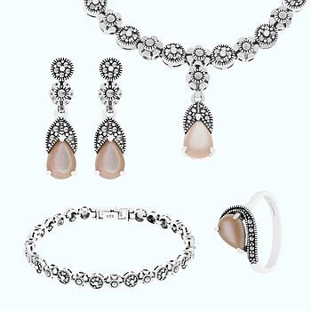 Sterling Silver 925 Set Natural Pink Shell Marcasite Stones