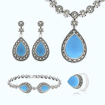 Sterling Silver 925 Set Natural Processed Turquoise Marcasite Stones