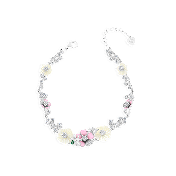 Sterling Silver 925 Bracelet Rhodium Plated Embedded With Natural White Shell and Enamel