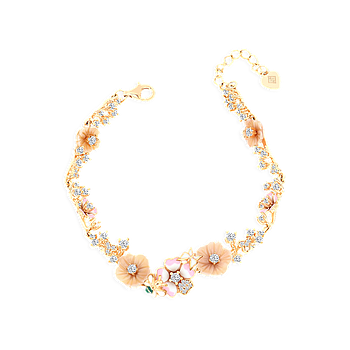 Sterling Silver 925 Bracelet Rose Gold Plated Embedded With Natural pink Shell and Enamel