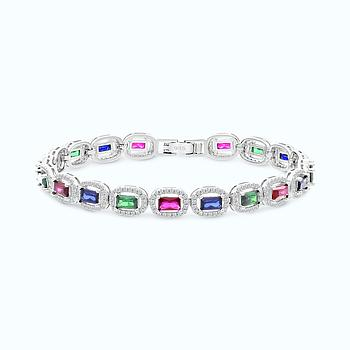 Sterling Silver 925 Bracelet Rhodium Plated,Multi stones