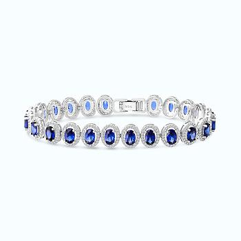 Sterling Silver 925 Bracelet Rhodium Plated,Tanzanite