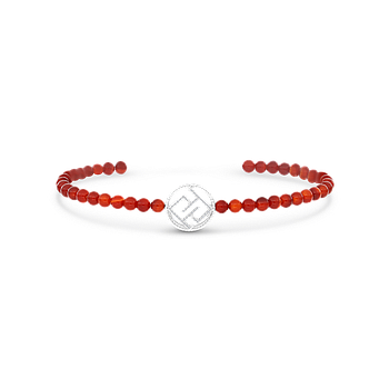 Sterling Silver 925 Bracelet Rhodium Plated,Natural Red agate - LOGO