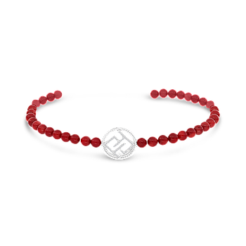 Sterling Silver 925 Bracelet Rhodium Plated  Embedded With Coral - LOGO