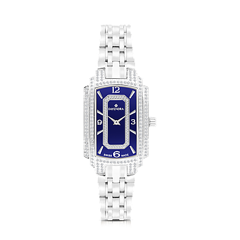 Stainless Steel 316L Watch, Rhodium Plated,For Women,Embedded With Natural Diamonds, Blue Dial