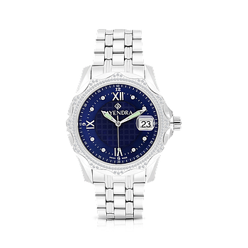 Stainless Steel 316L Watch Rhodium Plated Blue Dial For Men