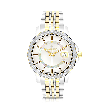 Stainless Steel 316L Watch,Rhodium,Gold Plated,Natural Diamonds,MOP Dial,For Men