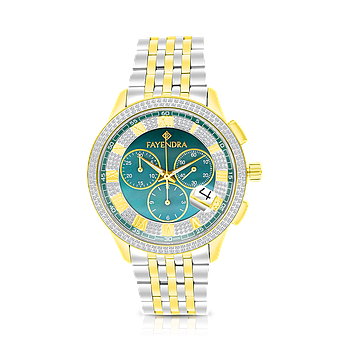 Stainless Steel 316L Watch,Rhodium,Gold Plated,Green Dial,For Men