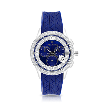 Stainless Steel 316L Watch Rhodium Plated Blue Rubber Blue Dial For Men
