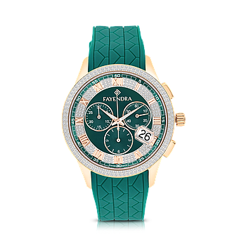 Stainless Steel 316L Watch Rose Gold Plated,Green Rubber,Green Dial,For Men