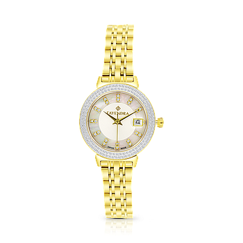 Stainless Steel 316L Watch Gold Plated MOP Dial For Women