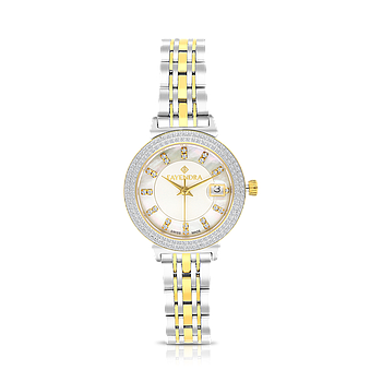 Stainless Steel 316L Watch Rhodium And Gold Plated MOP Dial
