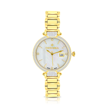 Stainless Steel 316L Watch,Gold Plated,Natural Diamonds,MOP Dial,For Women
