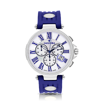 Stainless Steel 316L Watch Rhodium Plated Blue Rubber MOP Dial For Men