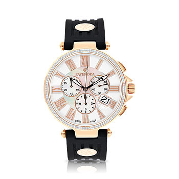 Stainless Steel 316L Watch Rose Gold Plated,Black Rubber,MOP Dial,For Men